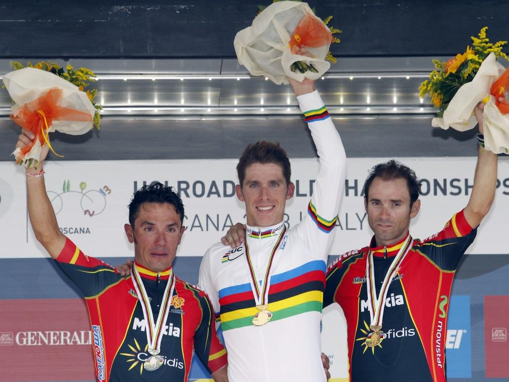 STJERNEKONFLIKTER: Joaquim Rodriguez og Alejandro Valverde var ikke blide på hverandre etter to spanske medaljer i Firenze.