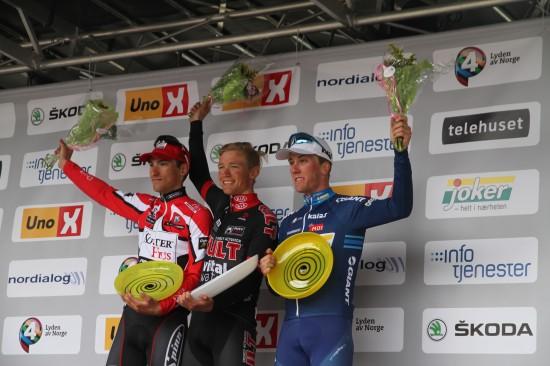 PALLEN 2014: Cort Nielsen vant foran Bystrøm og Skjerping. (foto: procycling.no)