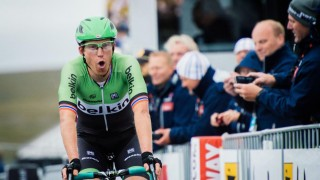 Norway's Lars-Petter Nordhaug reacts after winning the first stage of the Arctic Race of Norway at Alta between Hammerfest and Nordkapp in Norway on August 14, 2014. AFP PHOTO/JONATHAN NACKSTRAND