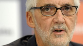 UCI's Brittish President Brian Cookson gives a press conference during the 2014 UCI Road World Championships in Ponferrada, on September 26, 2014.  AFP PHOTO/ MIGUEL RIOPA