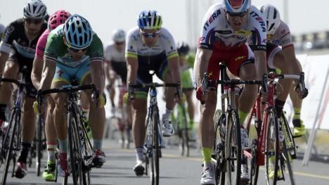 <b>STERK:</b> Alexander Kristoff hadde en god dag på sykkelen i Harelbeke, men maktet ikke å følge Geraint Thomas og Peter Sagan da de stakk. Heller ikke tredjeplassen var innenfor nordmannens rekkevidde. AFP PHOTO / LIONEL BONAVENTURE