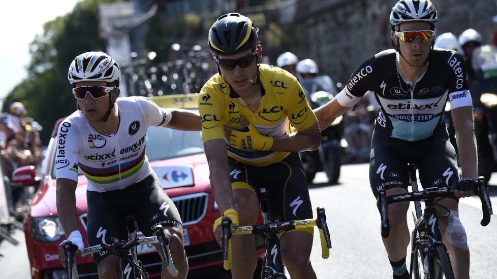 <b>MÅ BRYTE:</b> Tony Martin leder Tour de France, men kommer ikke til å stille på fredagens etappem Foto: ERIC FEFERBERG (Scanpix/Epa)