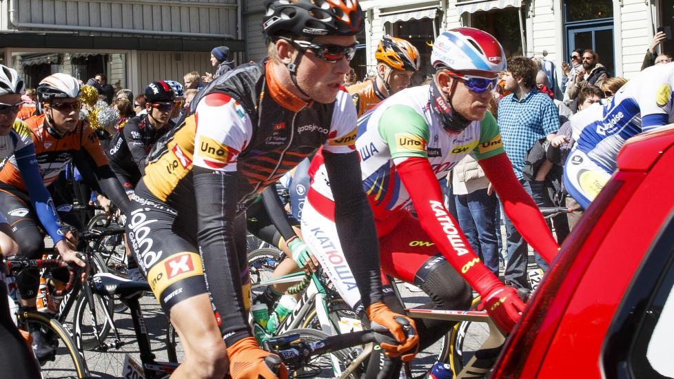 <b>DOPINGSJOKK:</b> Vegard Robinson Bugge (nærmest) avla en positiv dopingprøve for stoffet terbutalin under årets Tour des Fjords. Her står han på startstreken ved siden av Alexander Kristoff under 4. etappe av årets Tour of Norway. Foto: Heiko Junge / NTB Scanpix