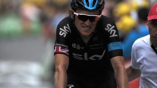 KJEMPESPREKK: Geraint Thomas fikk det tøft på den 19. etappen og raste ut av topp ti i sammendraget. Foto: Stefano Sirotti / Polaris