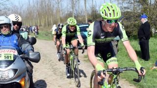 <b>HARD ÅPNING:</b> Kristoffer Skjerping fikk raskt føle hvordan det er å sykle mot de aller beste i verdens største sykkelritt. Allerede i sitt første år som profesjonell syklet han Paris-Roubaix. Foto: Slipstream Sports