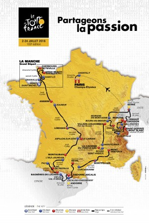 A map of the itinerary of the 2016 Tour de France cycling race is presented during a news conference in Paris in this handout picture released by ASO, on October 20, 2015. The world's greatest cycling event, which will start from the Mont-Saint-Michel on July 2 and finish at the Champs Elysees in Paris on July 24, consists of 21 stages and a total distance of 3,519km.  The Tour de France appears set to be dominated by the climbers once more in 2016 but cycling's most prestigious stage race should get off to a calmer start than this year's edition after organisers revealed a balanced course on Tuesday.  REUTERS/ASO/Handout via Reuters    ATTENTION EDITORS - THIS PICTURE WAS PROVIDED BY A THIRD PARTY. REUTERS IS UNABLE TO INDEPENDENTLY VERIFY THE AUTHENTICITY, CONTENT, LOCATION OR DATE OF THIS IMAGE. FOR EDITORIAL USE ONLY. NOT FOR SALE FOR MARKETING OR ADVERTISING CAMPAIGNS. THIS IMAGE HAS BEEN SUPPLIED BY A THIRD PARTY. IT IS DISTRIBUTED, EXACTLY AS RECEIVED BY REUTERS, AS A SERVICE TO CLIENTS