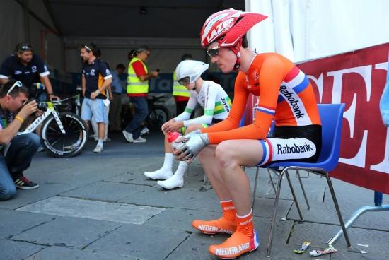REPRESENTERTE NEDERLAND: Tempostyrken er blant egenskapene som har gjort at Dylan Van Baarle ved flere anledninger har representert Nederland i mesterskap. Her fra U23-tempoen i Firenze. Foto: Tim de Waele (©TDWSport.com)