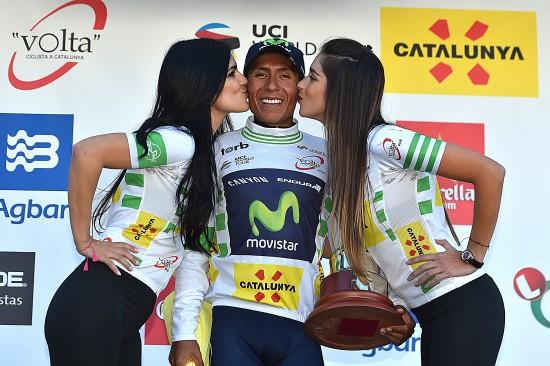 Cycling: 96th Volta Cataluya 2016/ Stage 4 Podium/ QUINTANA Nairo Alexander (COL)/ White Leader Jersey/ Celebration Joie Vreugde Baga - Port Aine (172,2Km)/ Tour of Catalunya/ Ronde Etape Rit/ Catalonia /© Tim De Waele