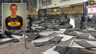 BOMBET: Ødeleggelsene på Zaventem-flyplassen etter tirsdagens bombing. Syklisten Sindre Eid Hermansen (innfelt) opplevde terrorangrepet på nært hold. Foto: Reuters / NTB scanpix / Team FixIt (montasje)