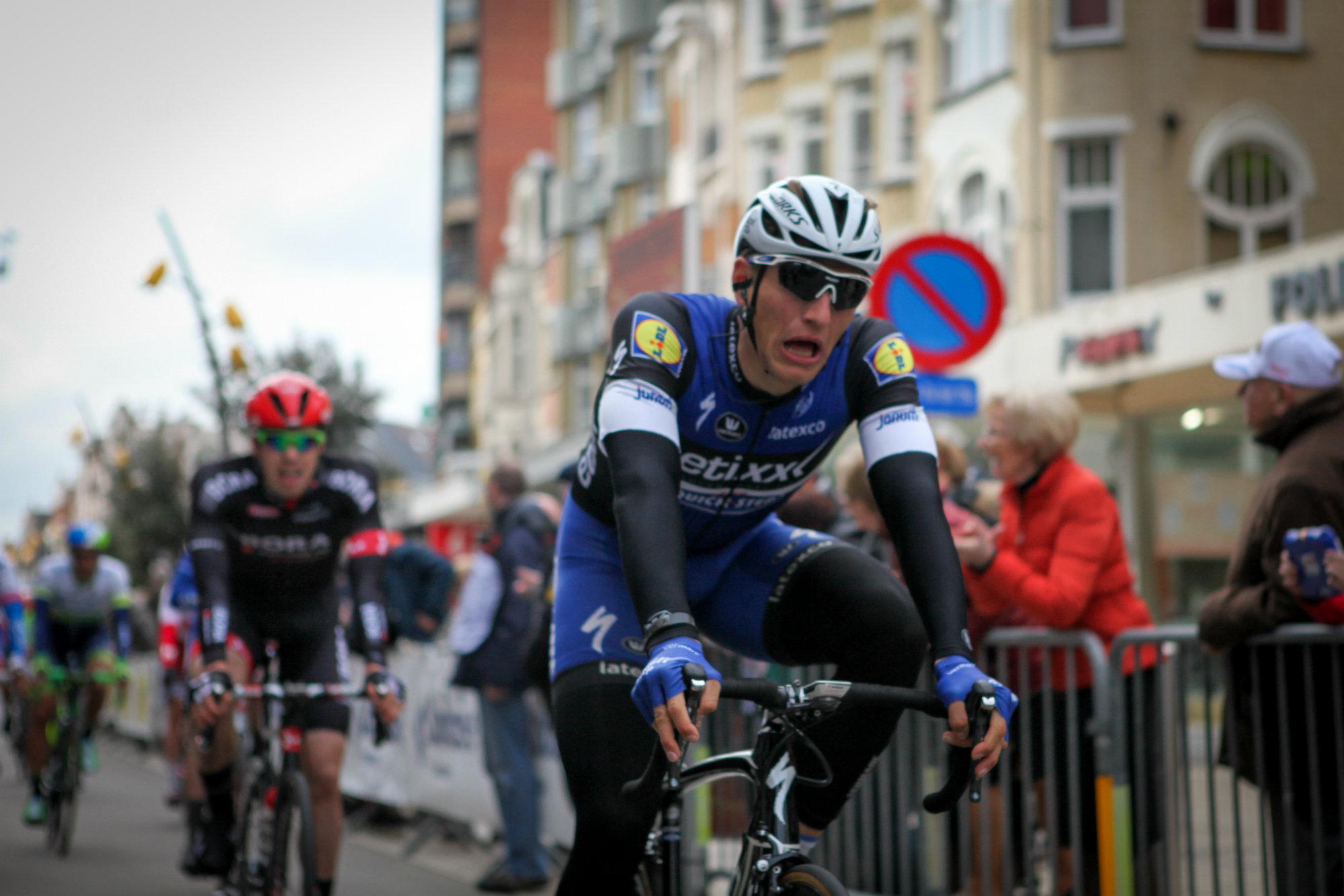 FOR STERK: Marcel Kittel satt på bakhjulet til Alexander Kristoff, og vant etappe 3a i De Panne. FOTO: Kjetil Rakkenes Anda, procycling.no