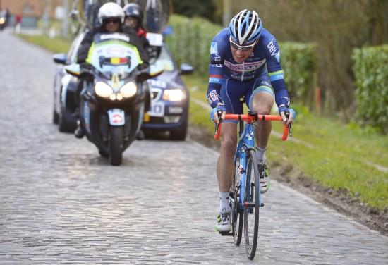 MOTIVERT: Wanty-Groupe Gobets Kévin Van Melsen. Her fra Dwars door Vlaanderen i forrige uke. Foto: Tim de Waele (©TDWSport.com)