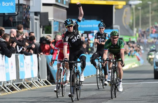 Cycling: 1th Tour of Yorkshire 2015/ Stage 1 Arrival/ Lars Petter NORDHAUG (Nor) Celebration Joie Vreugde// Thomas VOECKLER (Fra)/ Stephane ROSSETTO (Fra)/ Philip DEIGNAN (Irl) Bridlington - Scarborough (174 Km)/ Yorkshire/ Etape Rit/ © Tim De Waele