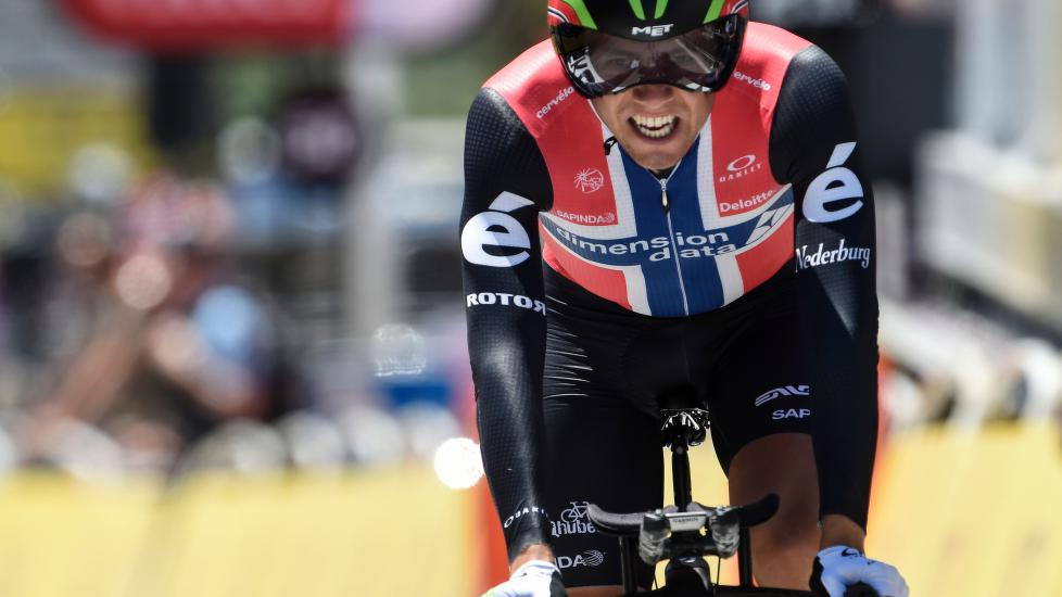FORNØYD: Boasson Hagen sa seg fornøyd med 13.plassen på fredagens tempo i Tour de France. AFP PHOTO / JEAN-PHILIPPE KSIAZEK