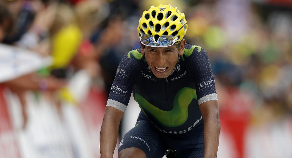 IKKE PÅ TOPP: Nairo Quintana har ikke vært på sitt beste i årets Tour de France, men sier seg likevel fornøyd. Foto: YOAN VALAT (Scanpix/Epa)
