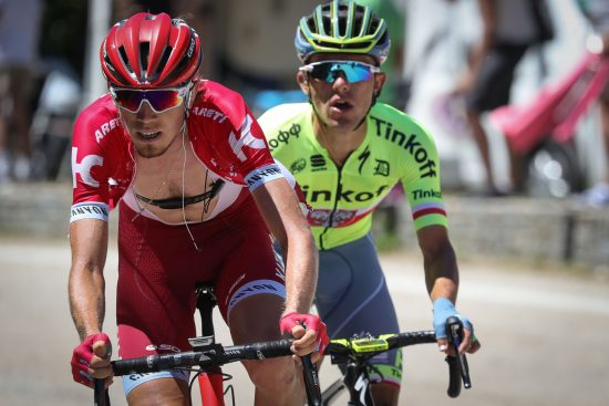Russia's Ilnur Zakarin (L) and Poland's Rafal Majka ride in a breakaway during the 160 km fifteenth stage of the 103rd edition of the Tour de France cycling race on July 17, 2016 between Bourg-en-Bresse and Culoz. / AFP PHOTO / KENZO TRIBOUILLARD