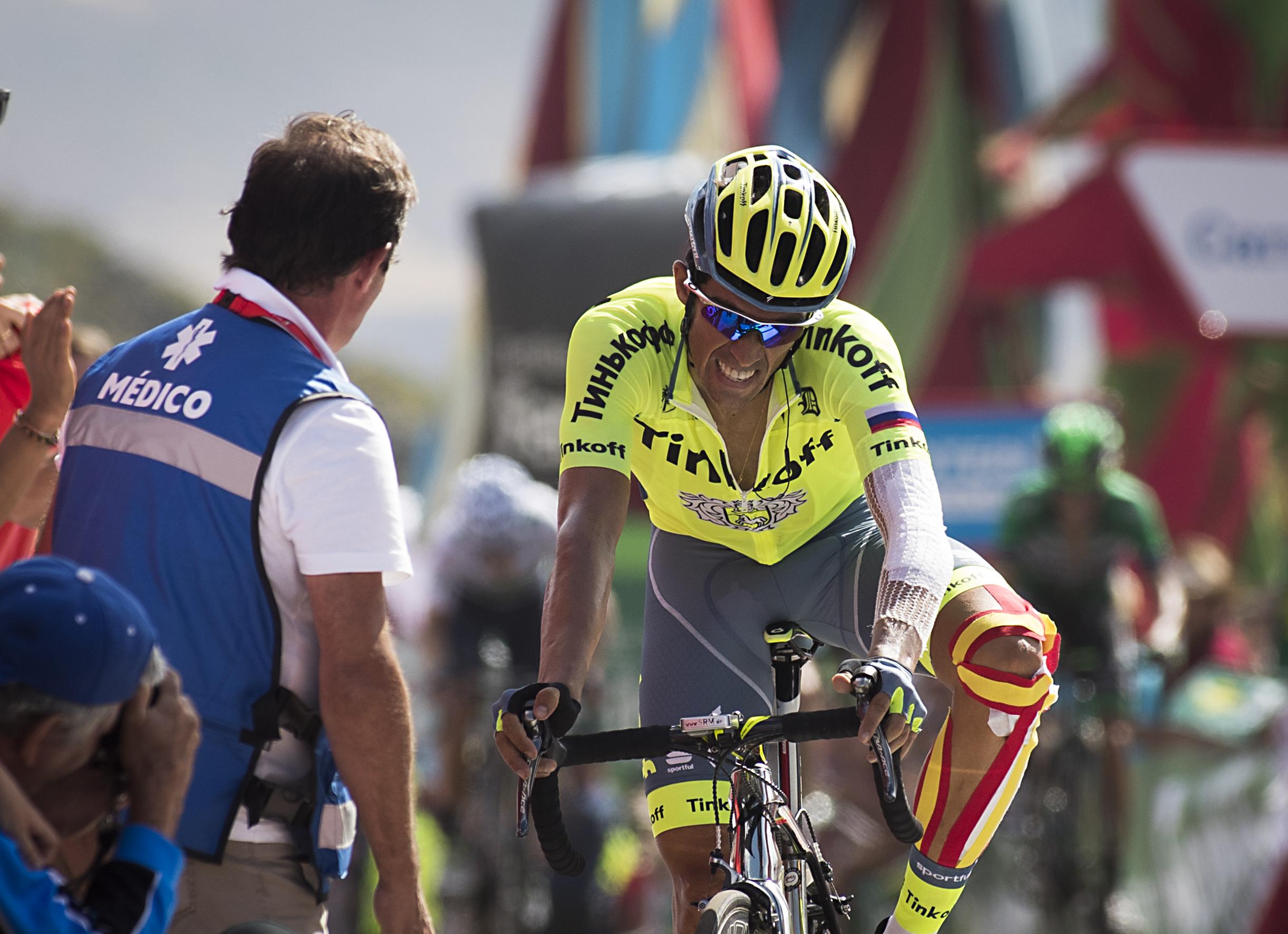 SVINET TIL: Alberto Contador får på pukkelen av Oleg Tinkov etter at deres samarbeid er ved veis ende. / AFP PHOTO / JAIME REINA