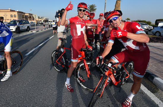 LAGKAMERATER: Jacopo Guarnieri og Alexander Kristoff har jobbet tett sammen i Katusha. Her fra Qatar i februar. Foto: Tim De Waele/TDWSPORT.COM