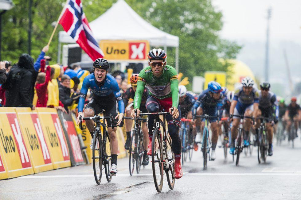 SARPSBORG: August Jensen blir nr. 3 på siste etappe av Tour of Norway, bare slått av Sondre Holst Enger og Edvald Boasson Hagen. Foto: Fredrik Varfjell / NTB scanpix