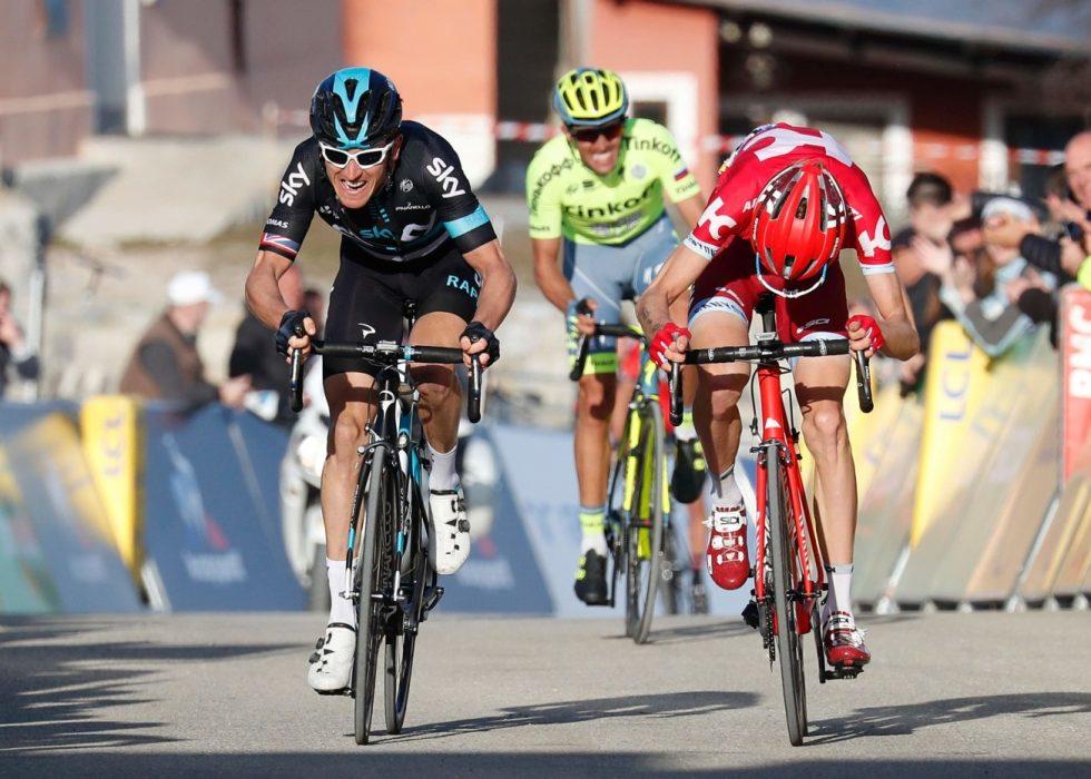 SEKUNDSTRID: Det ble jevnt under avslutningen av fjorårets Paris-Nice. Til slutt hadde Geraint Thomas bare fire sekunder til Alberto Contador. Her er rytterne i aksjon på 5. etappe