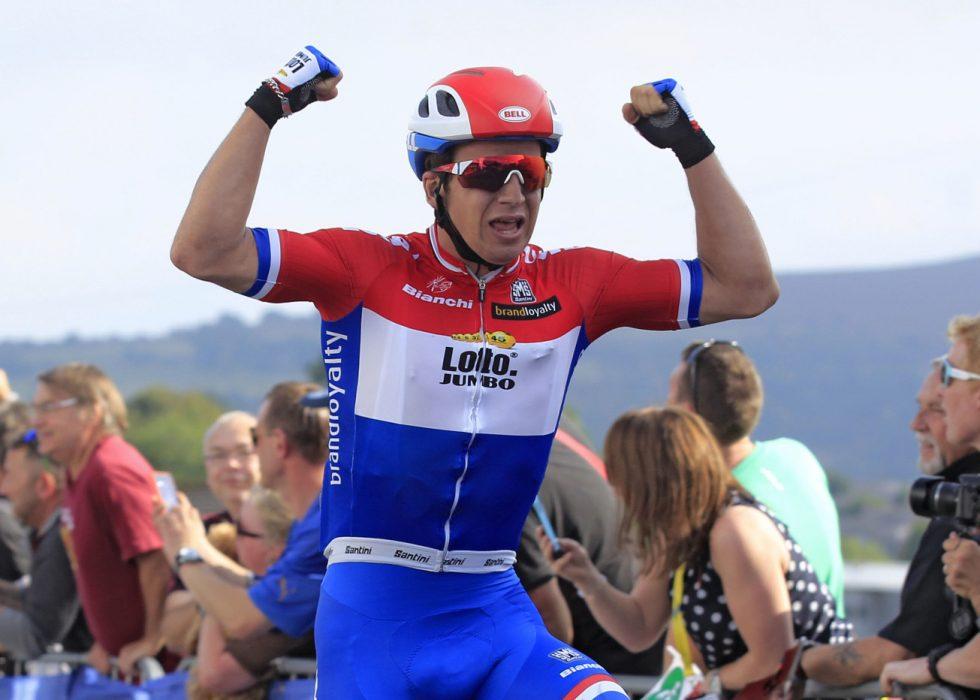 RASKEST: Dylan Groenwegen var best på andre etappe i Tour of Norway. Her fra Tour of Britain. Foto: Tim de Waele