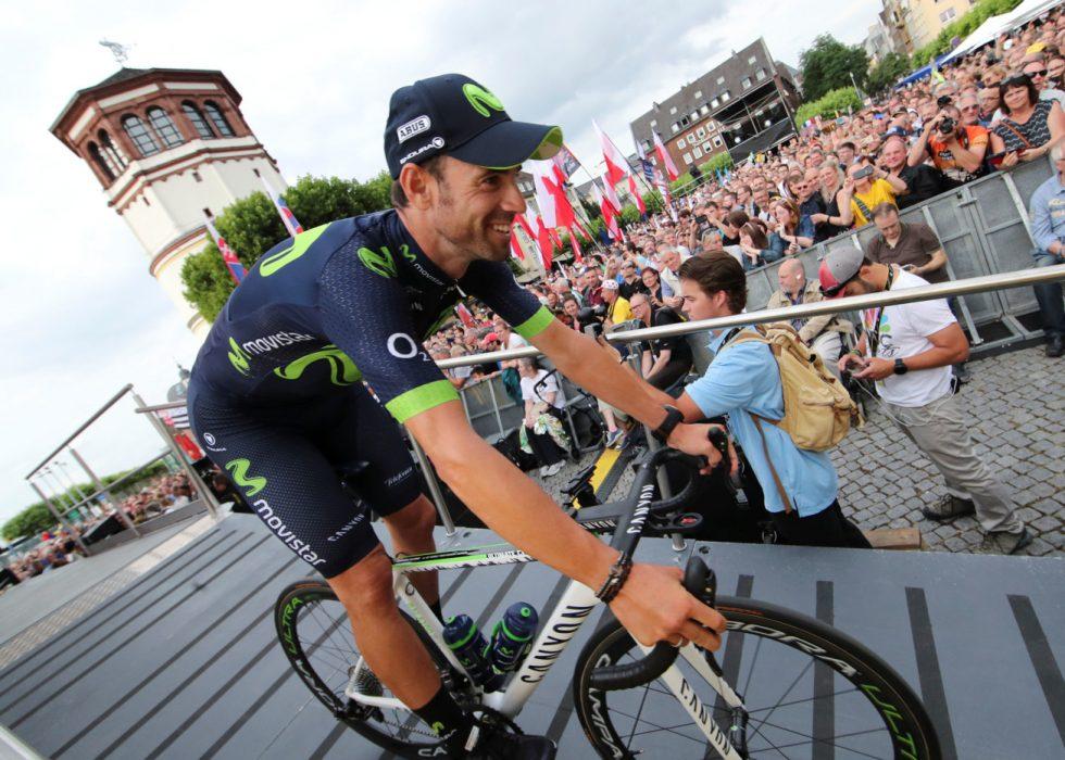 UTE: Valverde krasjet på åpningsetappen og måtte bryte Tour de France. REUTERS/Wolfgang Rattay