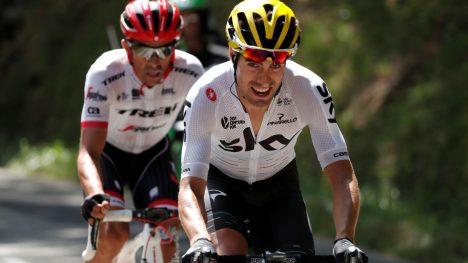 INTERN TRUSSEL? Mikel Landa flyttet seg oppover i sammendraget etter langt brudd på den 13. etappen. REUTERS/Benoit Tessier
