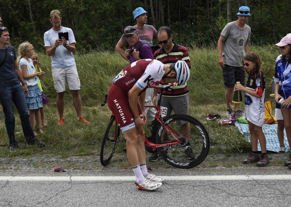 KVESTET: Velten på den 17.-etappen plager fortsatt Alexander Kristoff. Det gjør også et sittesår han pådro seg under Tour of California. FOTO: AFP PHOTO / Lionel BONAVENTURE
