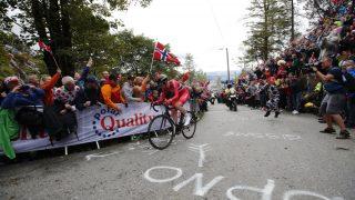 FLØYEN: Andreas Vangstad sykler opp Fløyen under VM i Bergen. FOTO: Poppe/NTB Scanpix