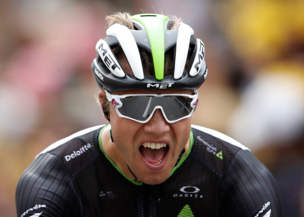 Team Dimension Data's Edvald Boasson Hagen after winning stage two of the OVO Energy Tour of Britain from Kielder Water and Forest Park to Blyth.