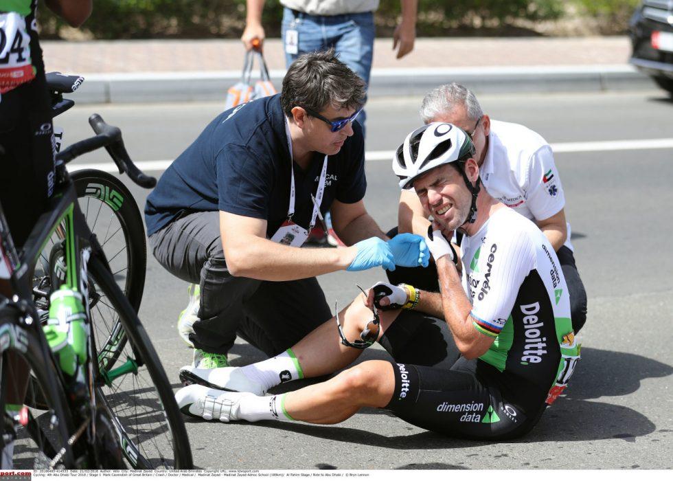 HØY RISIKO: Velten i Abu Dhabi (som ga ham hjernerystelse) kombinert med velten i 55 kilometer i timen under Tirreno-Adriatico