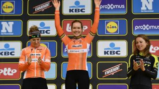 (From L) Second-placed Dutch rider Amy Pieters