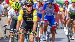 KUNNE SMILE: Amund Grøndahl Jansen var meget fornøyd etter at lagkamerat Dylan Groenewegen vant den syvende etappen under Tour de France. Foto: Heiko Junge / NTB scanpix
