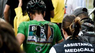 GIKK NED: Peter Sagan var tydelig merket etter et fall på den 17. etappen onsdag. AFP PHOTO / Philippe LOPEZ