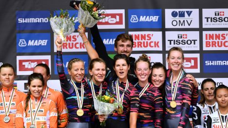 INNSBRUCK, AUSTRIA - SEPTEMBER 23: Podium / Chantal Blaak of The Netherlands / Karol-Ann Canuel of Canada / Amalie Dideriksen of Denmark / Christine Majerus of Luxembourg / Amy Pieters of Netherlands / Anna Van Der Breggen of Netherlands and Boels Dolmans Cyclingteam of The Netherlands / Silver Medal / Alena Amaliusik of Belarus / Alice Barnes of Great Britain / Hannah Barnes of Great Britain / Elena Cecchini of Italy / Lisa Klein of Germany / Trixi Worrack of Germany and Canyon SRAM Racing Team of Germany / Gold Medal / Lucinda Brand of The Netherlands / Leah Kirchmann of Canada / Liane Lippert of Belgium /Pernille Mathiesen of Denmark / Coryn Rivera of The United States / Ellen van Dijk of The Netherlands and Team Sunweb of The Netherlands / Bronze Medal / Celebration / during the UCI Team Time Trial Women a 54,5km race from Otztal to Innsbruck at the 91st UCI Road World Championships 2018 / TTT / RWC / on September 23, 2018 in Innsbruck, Austria. (Photo by Justin Setterfield/Getty Images)