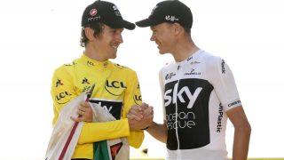 VENNER: Geraint Thomas og Chris Froome sier de har et godt forhold