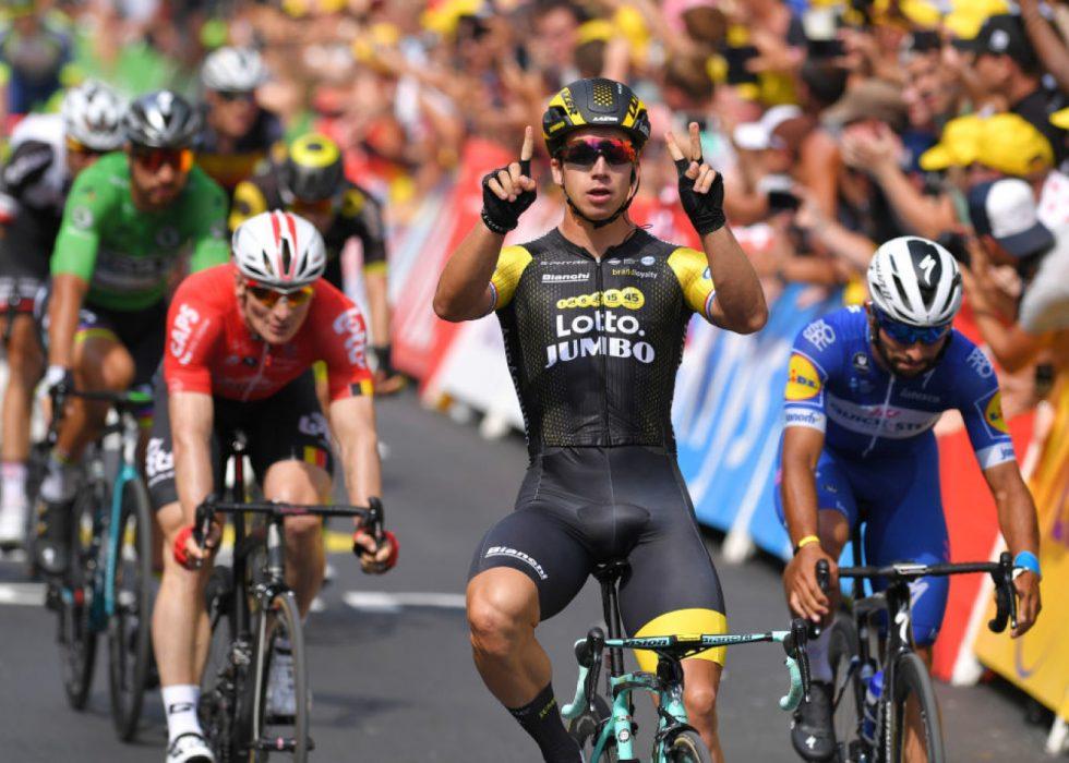 SPURTSTJERNE: Dylan Groenewegen (LottoNL-Jumbo) spurtet til seier på to Tour de France-etapper i sommer. Neste sesong vil en norsk logo pryde brystet hans i verdens største sykkelritt. FOTO: Tim de Waele/Getty Images